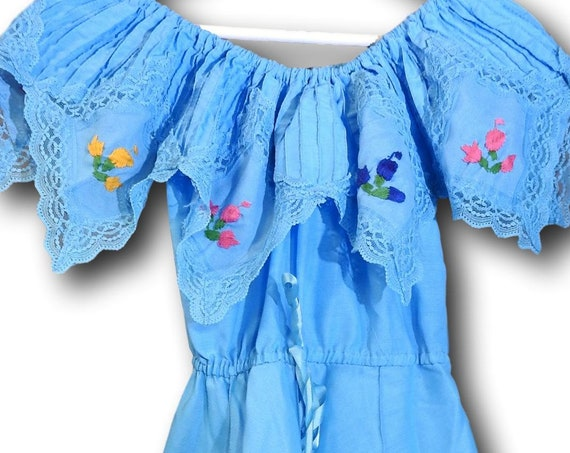 Blue Mexican dress with flowers