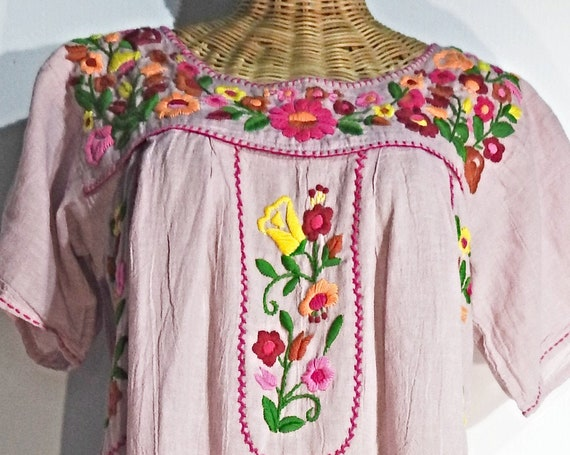 Pink embroidered sun dress