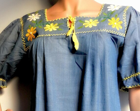 Blue jean maxi dress with embroidered flowers light  full length chambray denim women floral long embroider and yellow boho clothing