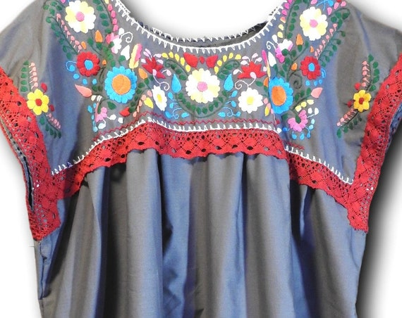 Plus size mexican embroidered blouse