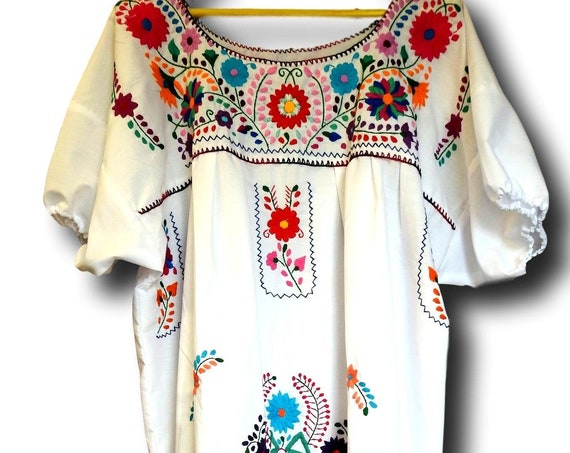 White embroidered fiesta dress