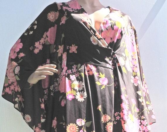 Vintage black kimono sleeve maxi dress with pink flowers.