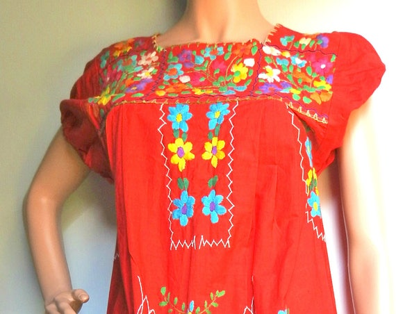Red and floral cotton Mexican folk dress.