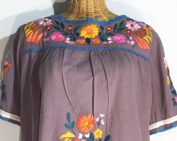 Cotton tunic dress with floral embroidery, boho clothing, french lilac purple, festival top bohemian romantic flared peasant