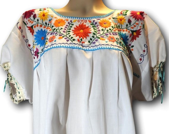 Mexican embroidered boho blouse