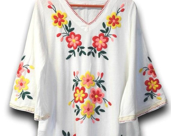 Bell sleeve maxi dress, floral colorful, embroidered boho, long white bohemian, soft cotton fabric,  Moroccan style dresses V neck peasant M