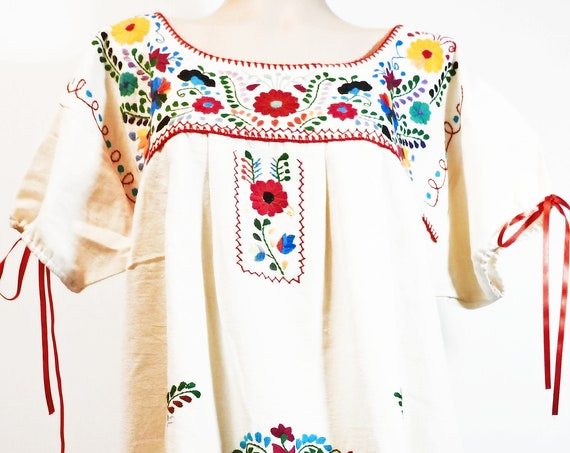 Mexican embroidered dress for women