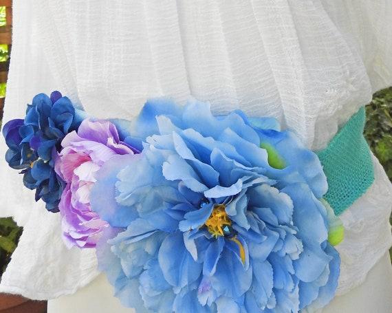 Bridal belt pink and blue artificials flowers