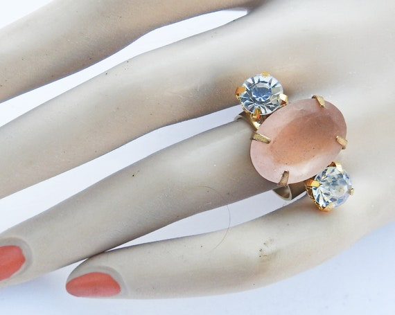 Light pastel pink ring for women