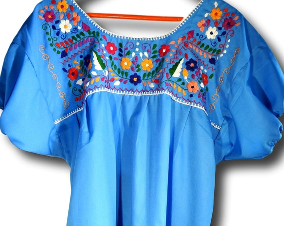 Plus size Mexican blouse bright blue floral embroidery plus summer top embroidered blouses xxl peasant boho style fashion