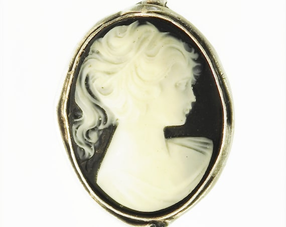 Black and white silver cameo ring for women