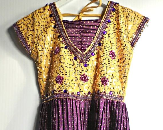Purple dress women for evening beaded and boho