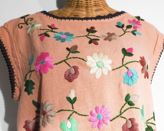 Handmade summer festival top salmon pink with embroidered flower, clothing pale sleeveless blouse boho shirt embroidery party bohemian