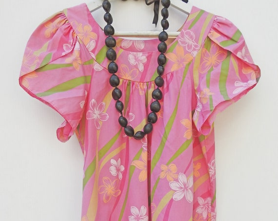 Pink floral Hawaiian print dress