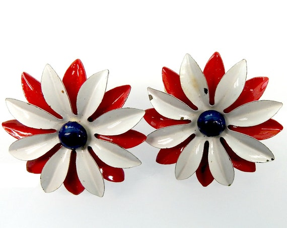 CLIP ON earrings, navy blue red white , for independence day