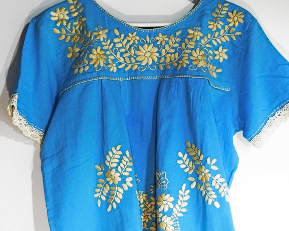 Blue Mexican embroidered blouse with Floral embroidery