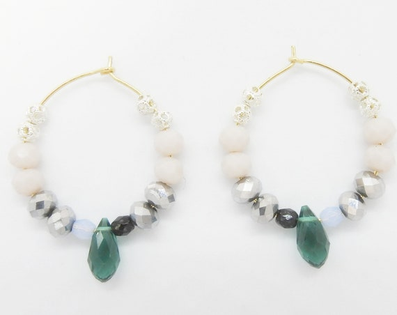 Unique handmade beaded hoop earrings