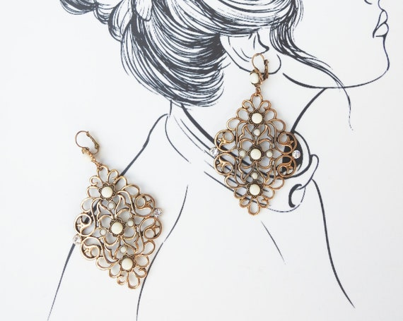 Boho statement earrings for women  with gold tone filigree