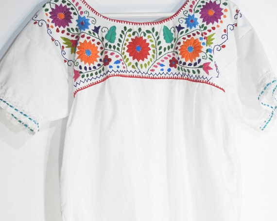 Embroidered blouse festival clothing white Mexican peasant embroidered flower Bohemian top shirt boho womens fashion XL