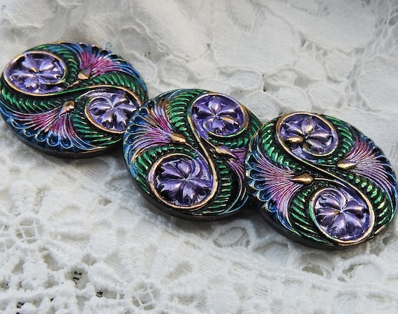 Vintage purple green buttons