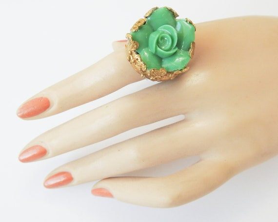 Boho ring with green flower