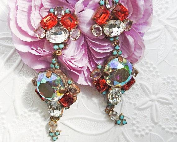 Vintage aurora borealis crystal earrings clip