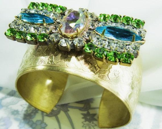 Stylish crystal wide cuff bracelet, unique bow bracelet, Gold color, blue and green rhinestone bracelet