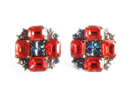 Crystal earrings clip-on vintage style