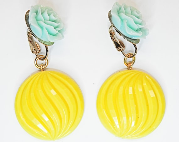 Neon jewelry dangle earrings clip-on.