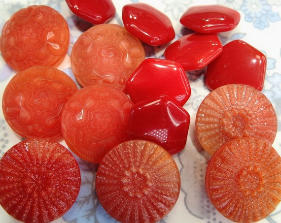 Assorted red glass buttons for sewing and making button jewelry necklace