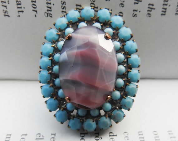 Blue glass cabochon for jewelry making