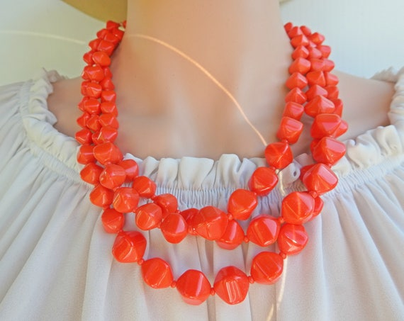 Red multi strand necklace for woman