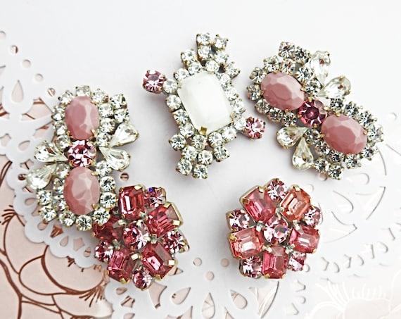 Pink Czech rhinestone buttons