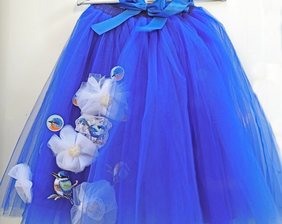 Royal blue women tutu skirt for adults
