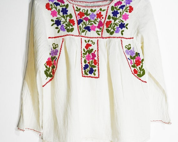 Embroidered Mexican blouse with flowers long sleeve hipster bohemian chic cotton embroidered tops for ladies floral peasant top embroidery