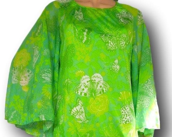 Bright GREEN MAXI DRESS with butterfly sleeves