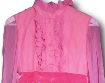 Seventies dress polyester maxi dress 70s  hawaiian dress 60s flower power disco high waist  costume  queen pink maxi  studio 54  party