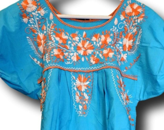 Blue Mexican dress for women