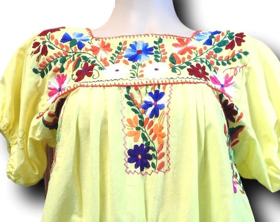 Embroidered mexican peasant dress