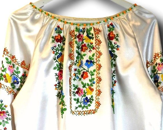 Satin embroidered blouse