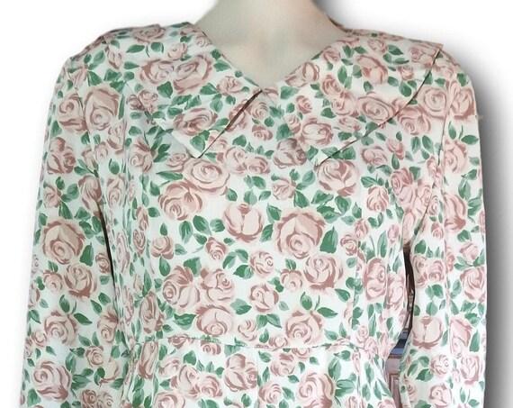 Vintage 50s rustic floral dress