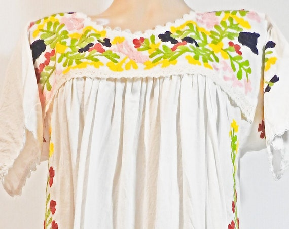 Long white boho embroidered dress