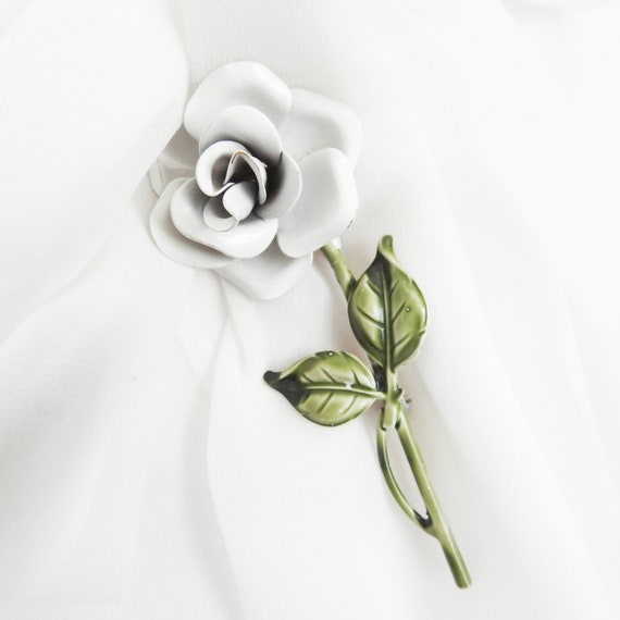 RESERVED FOR NICOLE - White rose brooch