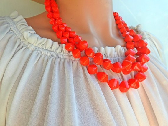 Red layered necklace for women