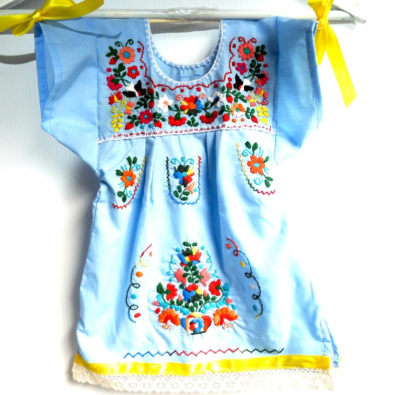 8f781a2c25aea BLUE MEXICAN DRESS Cinco de mayo baby Mexican clothes child fiesta girls  Mexican fiesta Mexicana kids colorful young pride girl