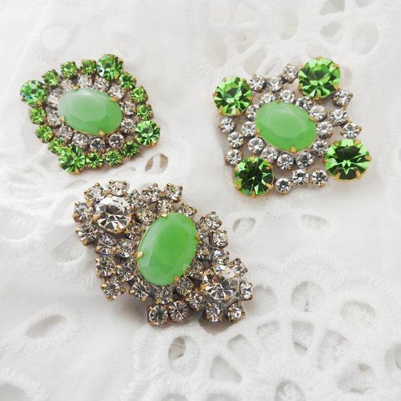Light green rhinestone buttons