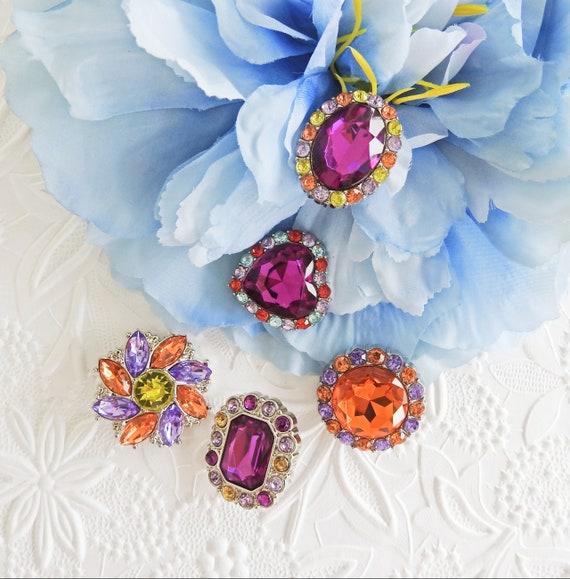 Purple rhinestone buttons