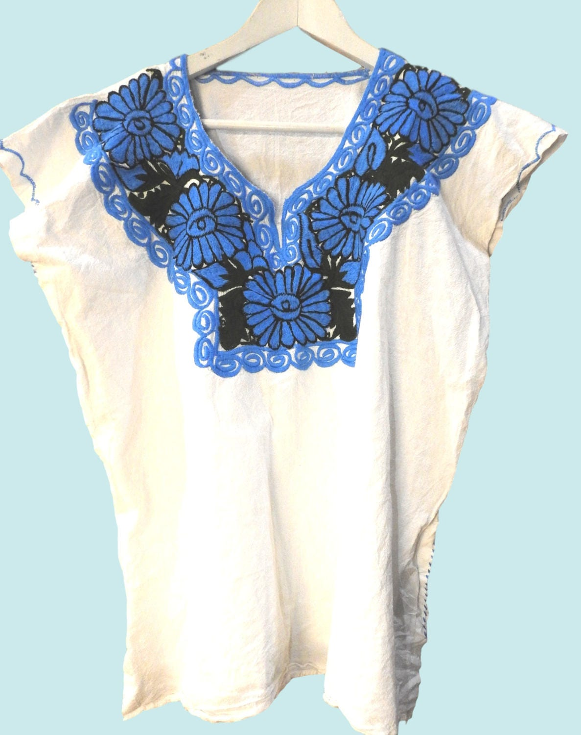 White Mexico Embroidery Blouse A Real Authentic Mexican Clothes