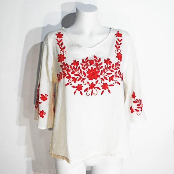 Red and white Mexican floral blouse