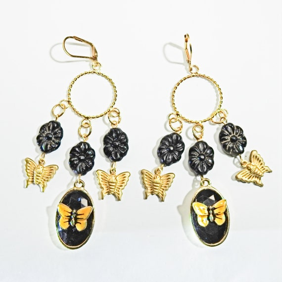 Boho style black long butterfly earrings
